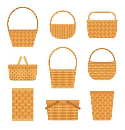 Collectie van lege manden, geïsoleerd op een witte achtergrond. Vlakke stijl vectorillustratie. Vector Illustratie
