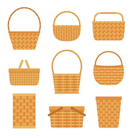 Collection of empty baskets, isolated on white background. Flat style vector illustration. Vettoriali