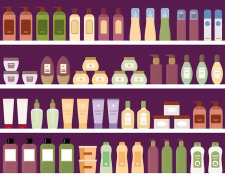 Mensole con prodotti colorati in bottiglie di plastica. Illustrazione stile piatto.