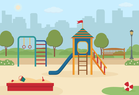 Children's playground in the city with toys, a slide, a sandpit. Vector illustration.