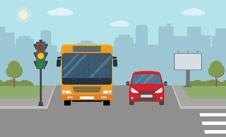 Auto rojo y autobús se detuvieron en un semáforo. Ilustración de vector moderno del paisaje urbano.