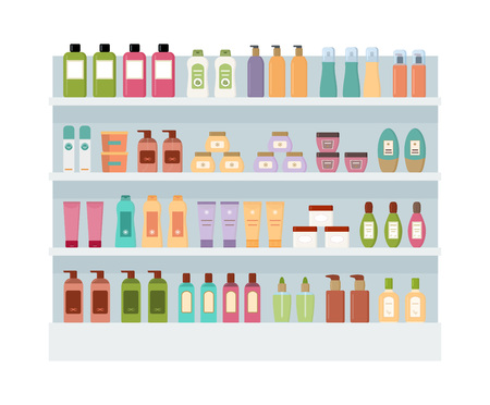 Shelves with lot of colorful cosmetic products. Large rack isolated on white background. Flat style vector illustration. Illusztráció