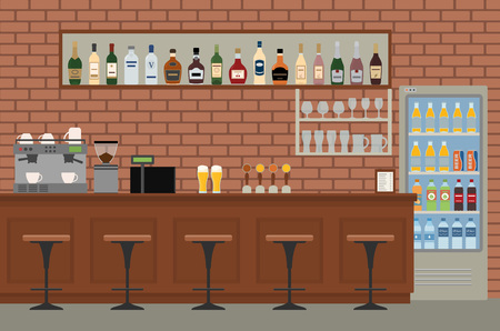 Empty bar interior. Pub with wooden counter, chairs and equipment. Flat design vector illustration.