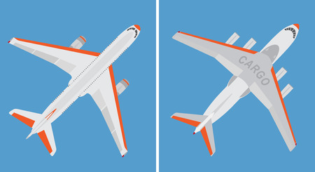 Big commercial plane and cargo airplane isolated on blue background. Top view. Vector illustration.