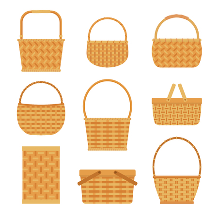 Collection of empty baskets, isolated on white background. Flat style vector illustration. Vectores
