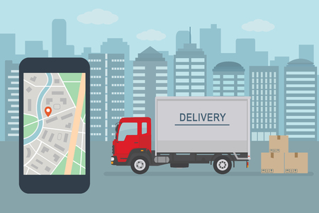 Delivery service app on mobile phone. Delivery truck and mobile phone with map on city background. Flat style vector illustration.