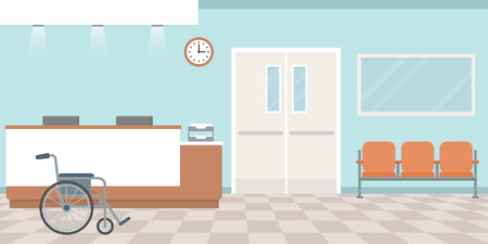 Hospital reception. Empty nurses station. Corridor with armchairs. Flat style, vector illustration.