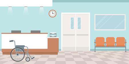 Réception hospitalière. Poste d'infirmières vide. Couloir avec fauteuils. Style plat, illustration vectorielle.