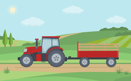 Red tractor with trailer on rural landscape background. Flat style vector illustration.