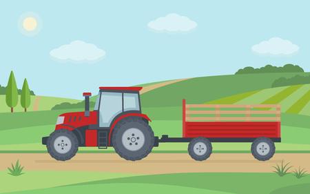 Trattore rosso con rimorchio sul fondo del paesaggio rurale. Illustrazione vettoriale stile piatto. Vettoriali