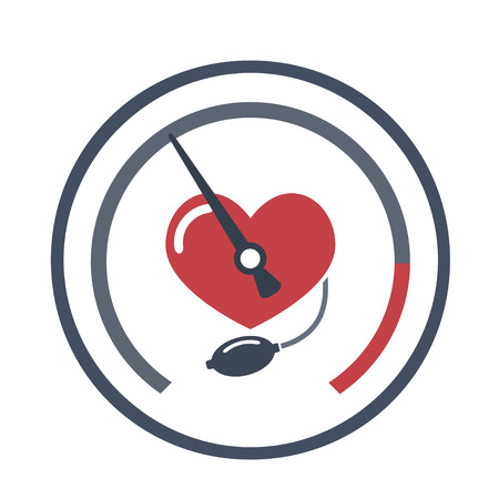 Heart, blood pressure measuring. Vector flat image on white background.