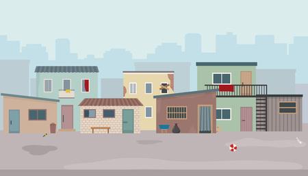 Sloppenwijk. Hutten en oude verwoeste huizen aan de straat. Vlakke stijl vector illustratie. Vector Illustratie