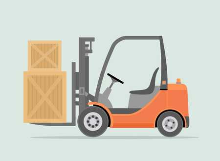 Orange Forklift truck isolated on light green background. Warehouse Equipment, cargo delivery, storage service. Vector illustration. Vettoriali