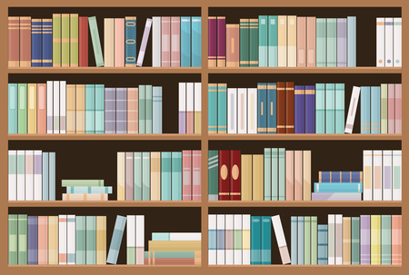 Bookshelves full of books. Education library and bookstore concept. Seamless pattern. Vector illustration. Иллюстрация