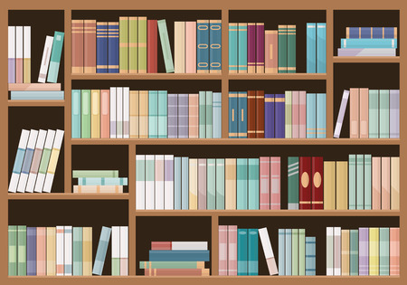 Bookshelves full of books. Education library and bookstore concept. Vector illustration. Illustration