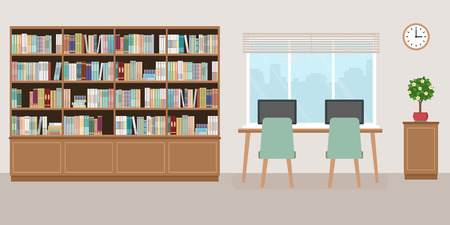 Modern library empty interior with bookcase, table, chairs and computers. Vector illustration. Illustration