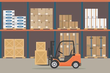 Orange Forklift truck in warehouse hangar interior. Warehouse Equipment, cargo delivery, storage service. Vector illustration.