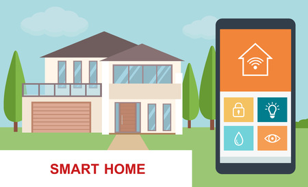 Smart home. Concept of a smart house technology system with centralized control. Flat style vector illustration.