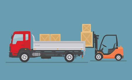 Tipper truck and forklift truck isolated on blue background. Warehouse Equipment, cargo delivery, storage service. Flat style vector illustration.