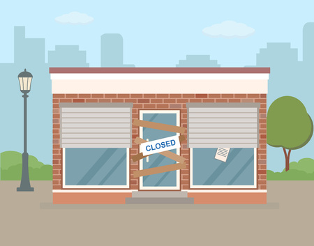 Store or cafe is bankrupt and closed. Facade of building on city background. Flat vector illustration.