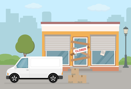 Store or cafe is bankrupt and closed. Facade of building and van on city background. Flat vector illustration.