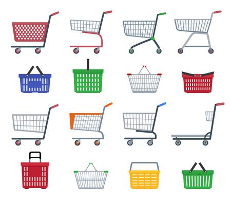 Set of shopping trolleys and shopping baskets. Isolated on white background. Flat vector illustration. Illustration