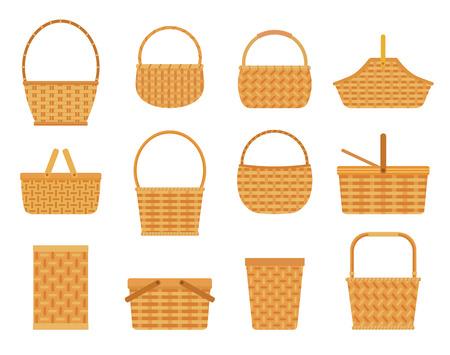 Colección de cestas vacías, aisladas sobre fondo blanco. Ilustración de vector de estilo plano.
