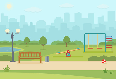 City park with hildrens playground. Park on summer day. Vector illustration flat style.