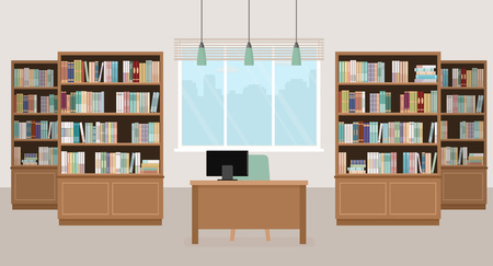 Modern library empty interior with bookcases, table, chair and computers. Vector illustration. Çizim