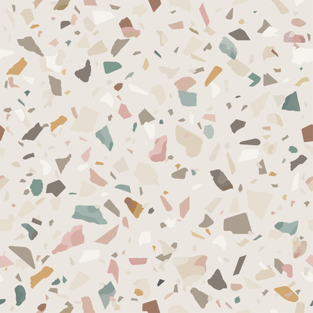 Texture de sol en terrazzo en pierre de granit. Abstrait, modèle sans couture. Illustration vectorielle.