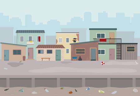 Barrio bajo. Chozas y viejas casas en ruinas en la calle. Ilustración de vector de estilo plano. Ilustración de vector