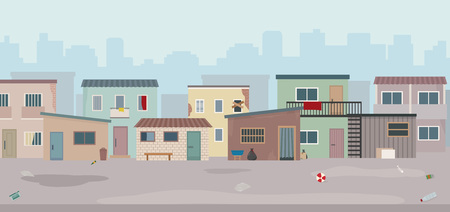 Slum. Huts and old ruined houses at the street. Flat style vector illustration.