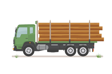 Logging truck on the road isolated on white background. Wood production and forestry. Vector illustration.