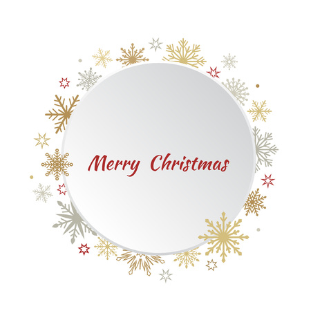 Christmas greeting card with snowflakes. White circle with golden and silver snowflakes. Vector illustration. Illustration
