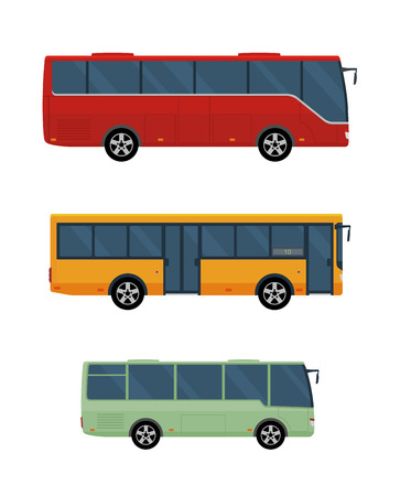 Three buses isolated on white background. Concept of public transport. Flat style. Vector illustration.