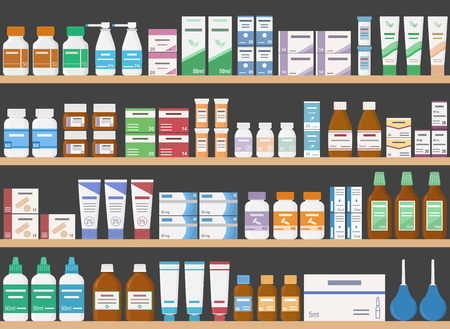 Pharmacy shelves with medicines. Concept of pharmaceutics and medication. Seamless pattern. Vector illustration.