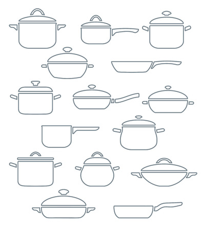 Vector set of kitchen utensils. Collection outline pots and pans with lids.