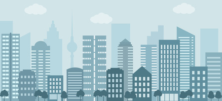 Modern urban landscape. City life illustration. Flat style, vector.