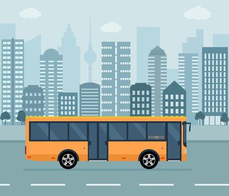 Orange bus on city background. Concept of public transport. Flat style vector illustration.