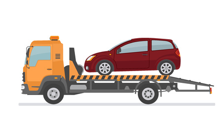 Broken car on tow truck. Isolated on white background. Flat style, vector illustration.