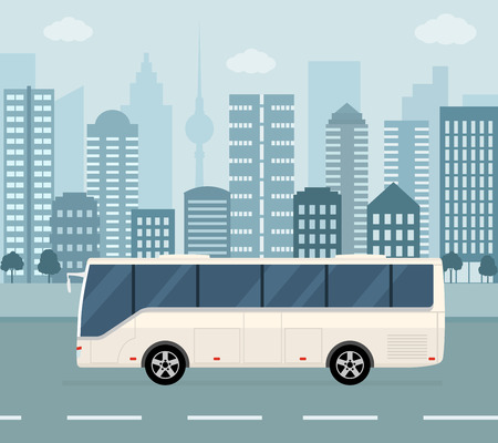 White bus on city background. Concept of public transport. Flat style vector illustration.