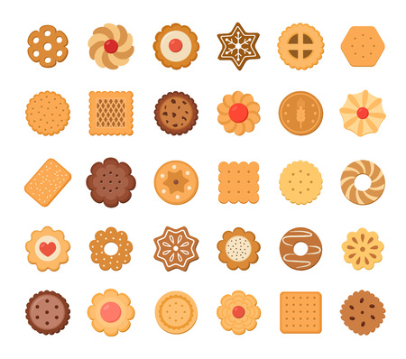 Big set of cookies and biscuits. Isolated on white background. Vector illustration. Illustration