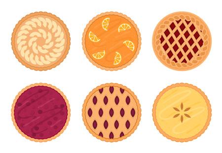 Juego de tartas de frutas. Aislado sobre fondo blanco. Ilustración vectorial Ilustración de vector