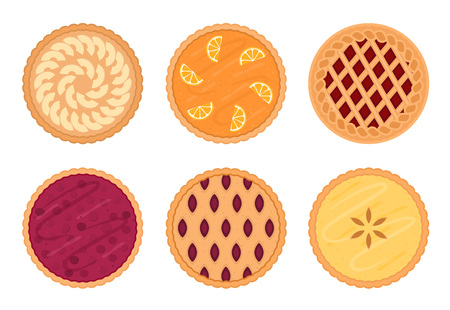 Set of fruit pies. Isolated on white background. Vector illustration.