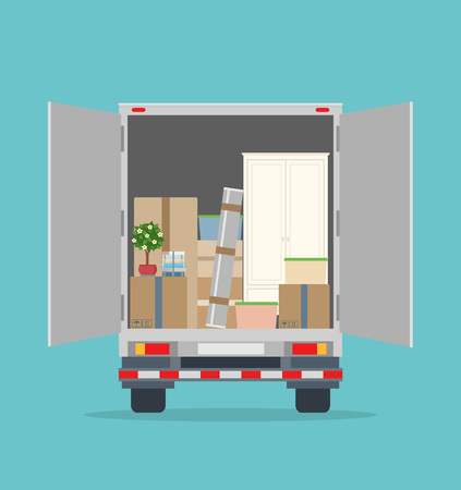 Open delivery truck with furnitures and cardboard boxes. Isolated on blue background. Illustration