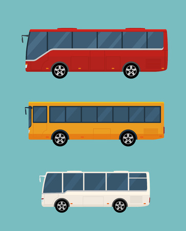 Three buses isolated on blue background. Concept of public transport. Flat style. Vector illustration. Illustration