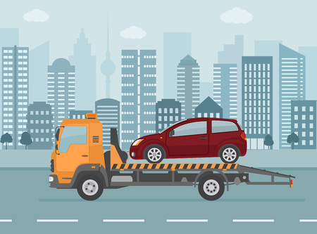 Broken car on tow truck, on city background. Flat style vector illustration. Illustration