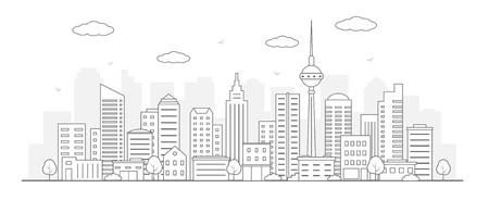 Modern urban landscape. City life illustration. Line art. Vector. Illustration