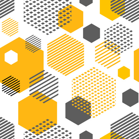 Geometric seamless pattern with hexagons, rhombuses, stripes and dots. Pattern for fashion and wallpaper. Vector illustration.