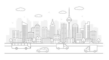 Modern urban landscape. City life illustration with road details, road and other urban details. Line art. Illustration